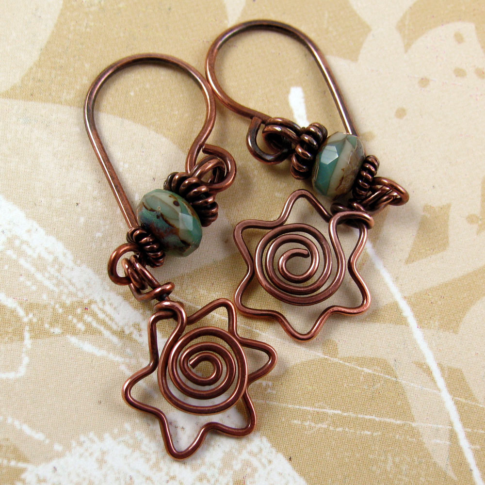 DAVIDKA Star Of David Copper Wire Earrings With Spiral Centers And ...
